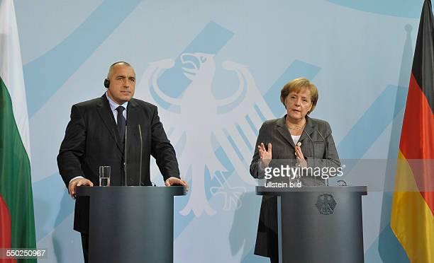 Bundeskanzlerin Angela Merkel und Ministerpräsident Boyko Borisov während einer Pressekonferenz anlässlich seines Besuches in Berlin