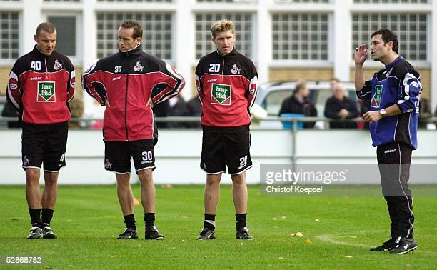 1 Bundesliga 03/04 Koeln 1 FC Koeln/Training Tomasz KLOS Dirk LOTTNER Thomas CICHON und Trainer Marcel KOLLER/Koeln