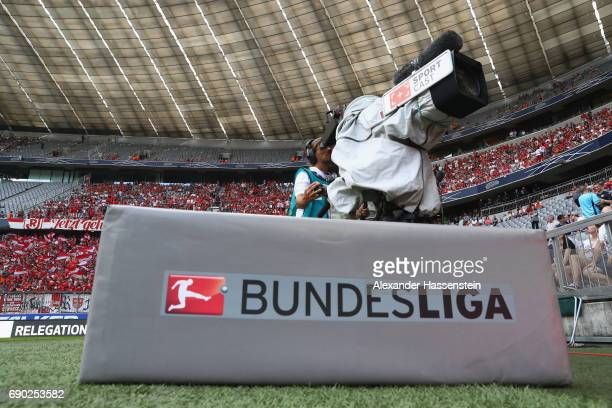 Bundesliga TV camera is seen during the Second Bundesliga Playoff second leg match betweenTSV 1860 Muenchen and Jahn Regensburg at Allianz Arena on...