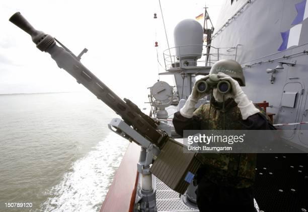 GERMANY WILHELMSHAVEN Bundesmarine marine on the frigate 'Saxony'
