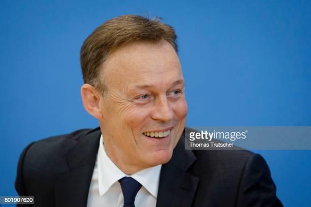 Bundestag faction leader Thomas Oppermann speaks to the media on June 27 2017 in Berlin Germany
