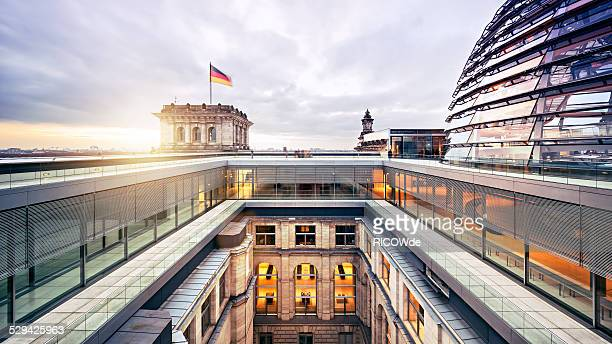 Bundestag with dome at sunset