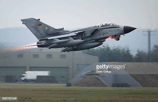 Bundeswehr Luftwaffe ECR Tornado reconaissance jet departs for Incirlik airbase in Turkey as part of Germany's participation in the international...