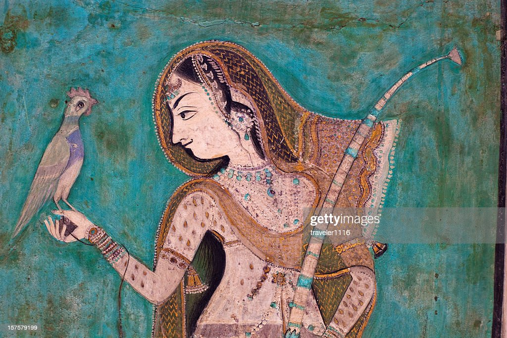 Painting From The 1700s In The Bundi Palace In Rajasthan India