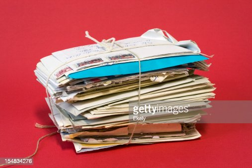 Bundle of old love letters. : Stockfoto