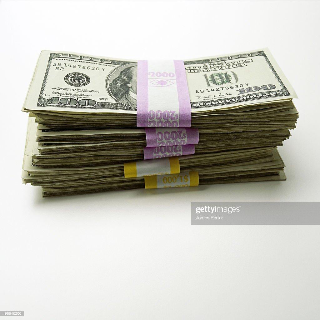 Bundle of one hundred dollar bills : Stock Photo