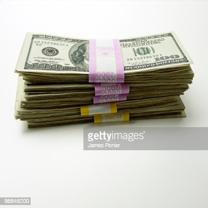 Bundle of one hundred dollar bills : Stock Photo