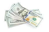 United States official currency, bundle of One Hundred Dollars isolated on white background with soft shadow