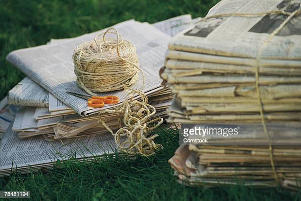 Bundled newspaper , ready to be recycled