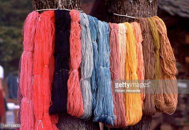 Bundles of colorful yarn dyed with natural materials on display at the annual Tennessee Fall Homecoming at the Museum of Appalachia in Norris...