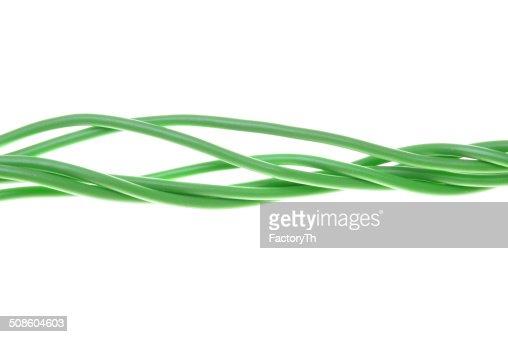 Verde feixes de cabos eléctricos : Foto de stock