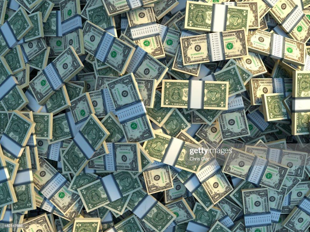 Bundles of one dollar bills : Stock Photo
