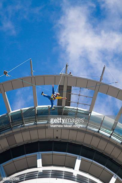 A bungee jumper and the Auckland Sky Tower