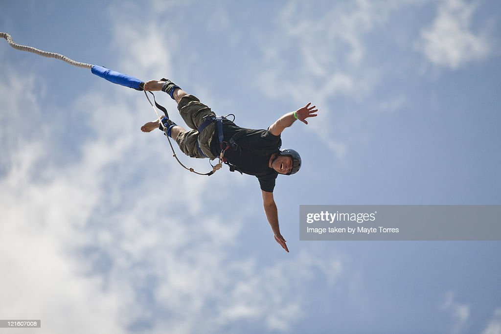 Bungee jumping man : Stock Photo