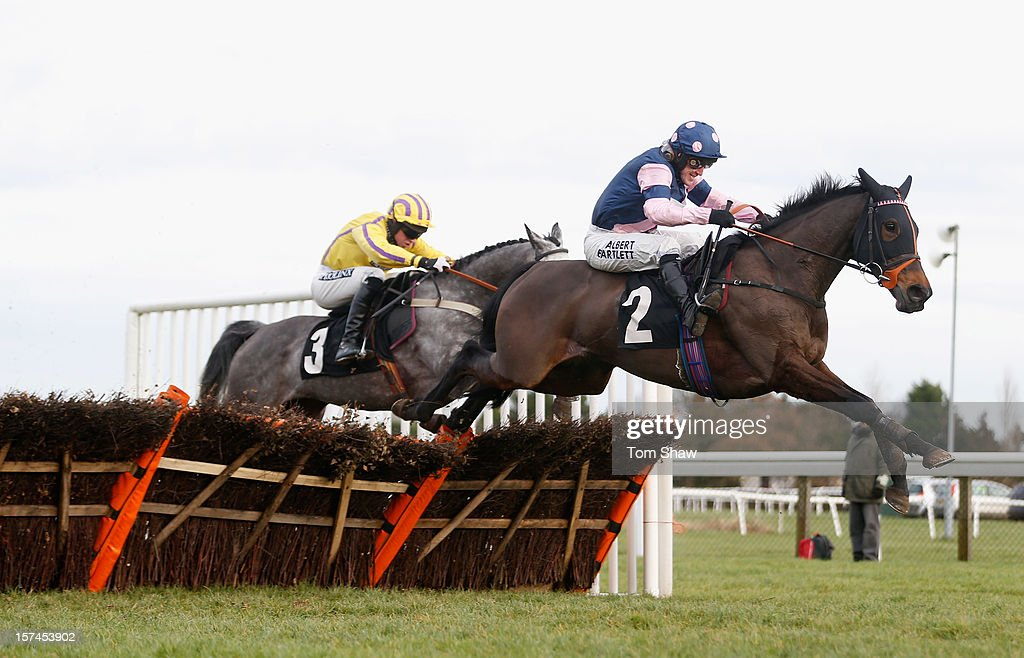 Bunglasha Lady ridden by Tony McCoy jumps the last fence to win the Tysers Mares' Handicap Hurdles Race at Plumpton Racecourse on December 3, 2012 in Plumpton, England.