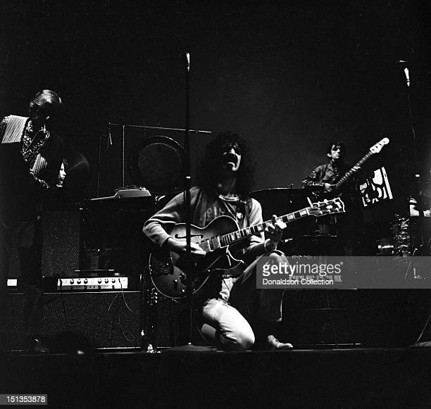 Bunk Gardner Frank Zappa and Roy Estrada of the rock group 'Frank Zappa And The Mothers Of Invention' perform onstage at the Garrick Theatre upstairs...