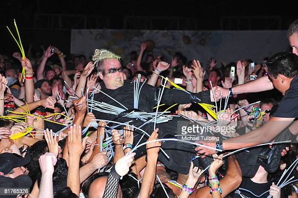 Bunny from the electronic music group Rabbit In The Moon performs in the crowd at the annual Electric Daisy Carnival massive rave party held at the...