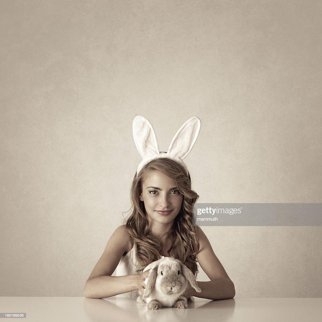bunny girl with baby rabbit