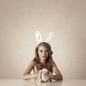 bunny girl with baby rabbit