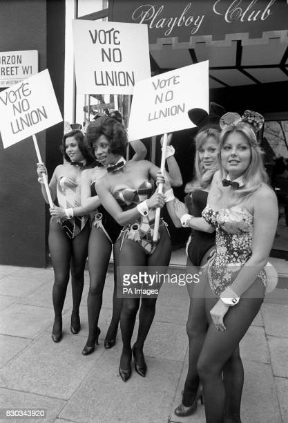 Bunny Girls on parade with placards outside London's Playboy Club as a prelude to a ballot of the club staff on whether to join the Transport and...