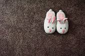 pair of bunny slippers on rug