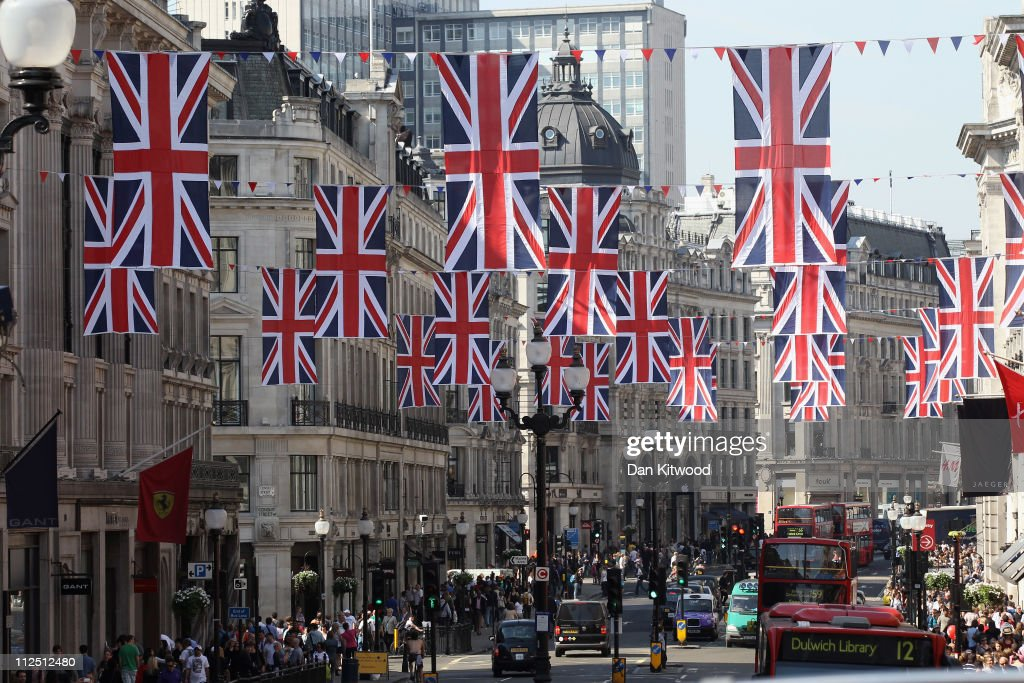 Bunting hangs on Regent Street on April 19, 2011 in London, England. Preparations are underway across the city as the Royal wedding of HRH Prince William and Kate Middleton draws nearer.