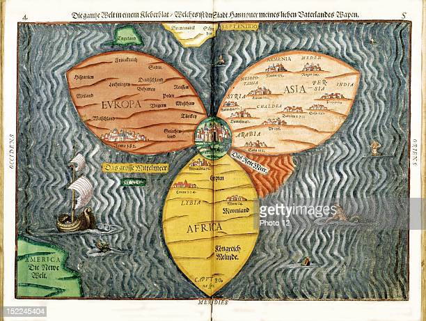 Bunting Heinrich Itinerarium Sacrae Scripturae p 45 The whole world in a clover leaf Germany MagdeburgParis Bibliotheque Nationale