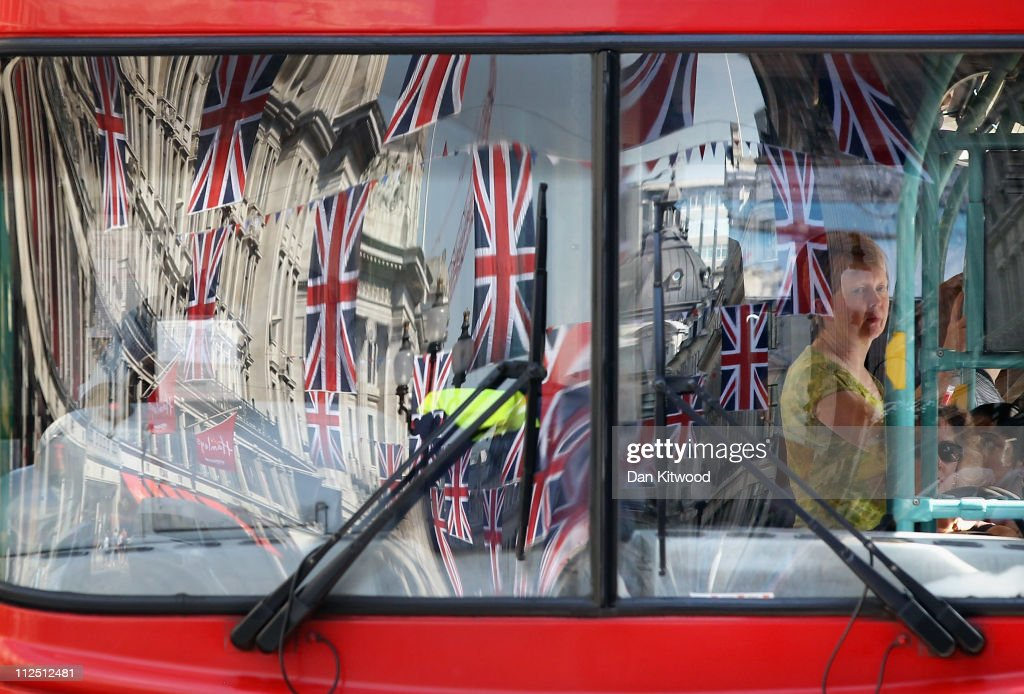 Bunting is reflected in a bus window on Regent Street on April 19, 2011 in London, England. Preparations are underway across the city as the Royal wedding of HRH Prince William and Kate Middleton draws nearer.