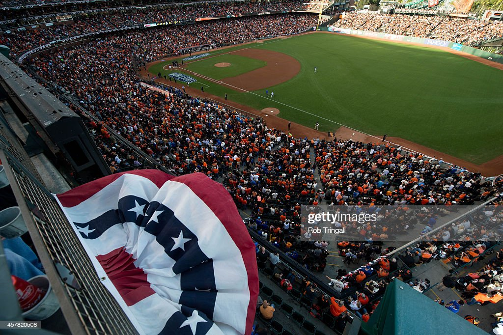 Bunting is seen blowing in the wind before Game 3 of the 2014 World Series between the Kansas City Royals and the San Francisco Giants at ATT Park on...