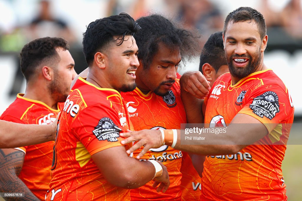 Bunty Afoa of the Warriors (C) celebrates his try during the NRL Trial Match between the New Zealand Warriors and the Gold Coast Titans at Toll Stadium on February 13, 2016 in Whangarei, New Zealand.