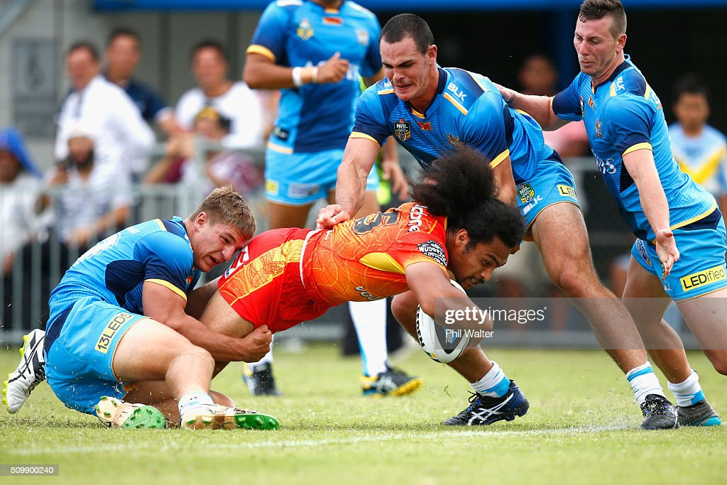 Bunty Afoa of the Warriors scores a try during the NRL Trial Match between the New Zealand Warriors and the Gold Coast Titans at Toll Stadium on February 13, 2016 in Whangarei, New Zealand.