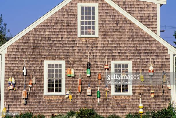 Buoys on the side of house Truro Cape Cod