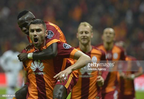 Burak Yilmaz and Bruma of Galatasaray celebrate after scoring a goal during Turkish Spor Toto Super League soccer match between Galatasaray and...