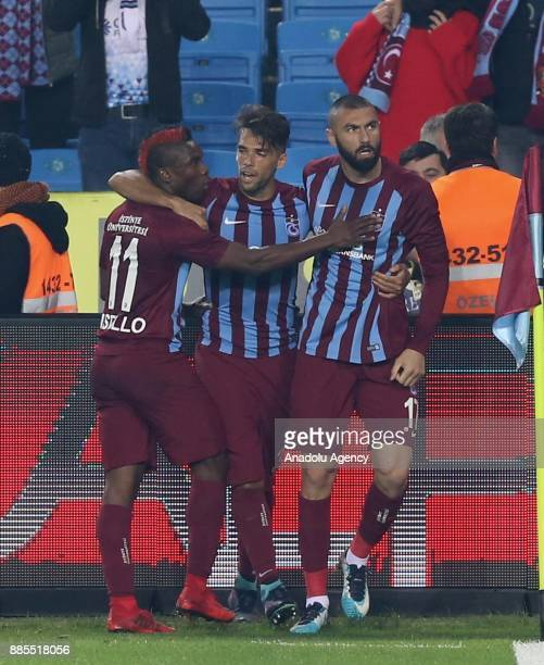 Burak Yilmaz Mas and Fabian Castillo of Trabzonspor celebrate after scoring during a Turkish Super Lig match between Trabzonspor and Antalyaspor at...