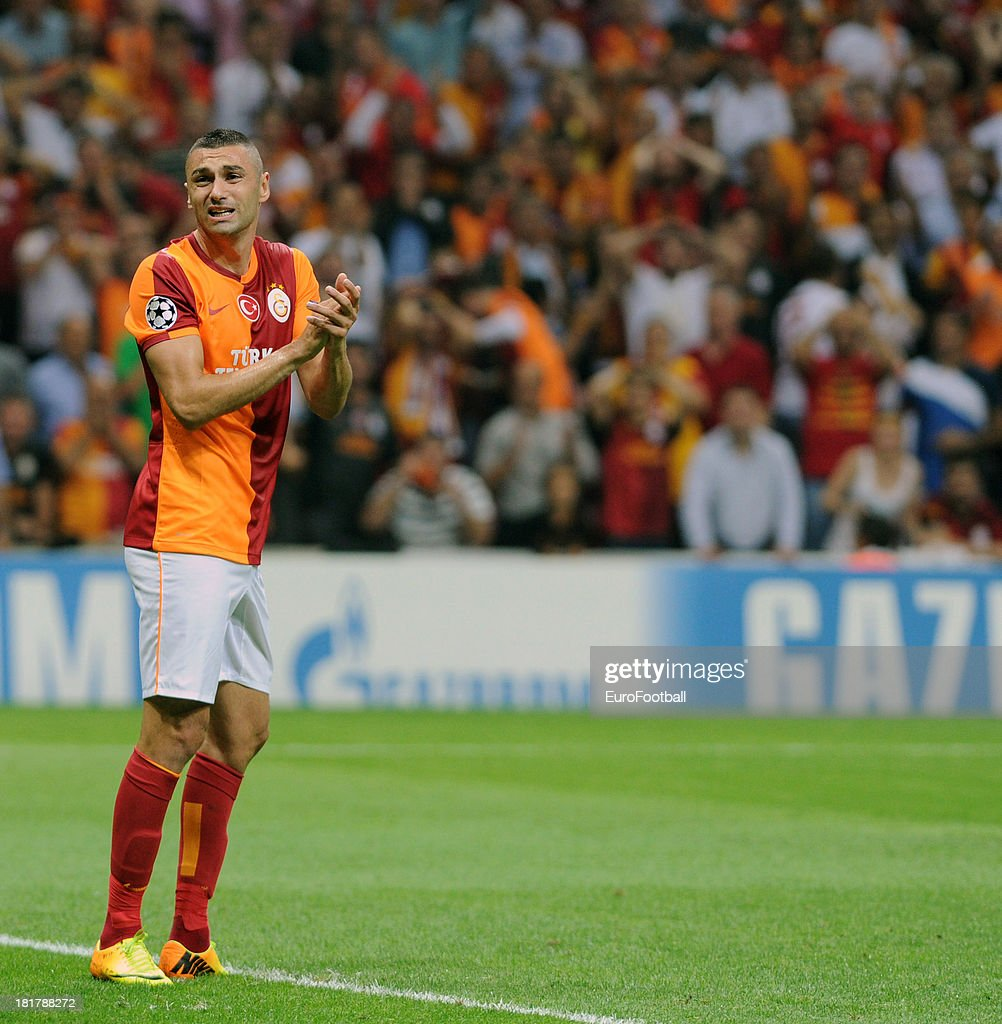 <a gi-track='captionPersonalityLinkClicked' href=/galleries/search?phrase=Burak+Yilmaz&family=editorial&specificpeople=8254293 ng-click='$event.stopPropagation()'>Burak Yilmaz</a> of Galatasaray AS in action during the UEFA Champions League group stage match between Real Madrid CF and Galatasaray AS held on September 17, 2013 at the Ali Sami Yen Spor Kompleksi, in Istanbul, Turkey.