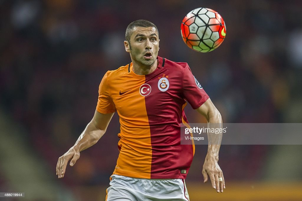 <a gi-track='captionPersonalityLinkClicked' href=/galleries/search?phrase=Burak+Yilmaz&family=editorial&specificpeople=8254293 ng-click='$event.stopPropagation()'>Burak Yilmaz</a> of Galatasaray during the Turkish Super Lig match between Galatasaray and Mersin Idmanyurdu on September 12, 2015 at the Turk Telekom stadium in Istanbul, Turkey.