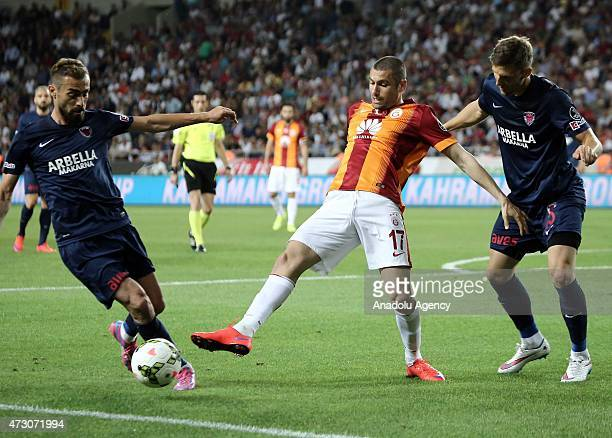 Burak Yilmaz of Galatasaray in action during the Turkish Spor Toto Super League football match between Mersin Idmanyurdu and Galatasaray at Mersin...