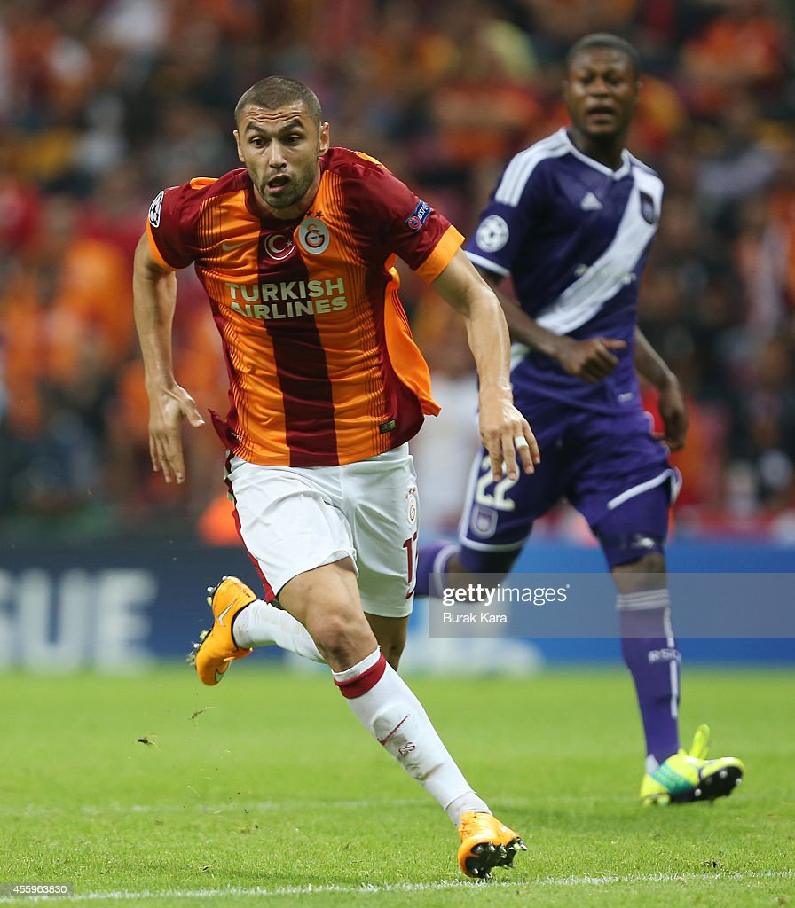 <a gi-track='captionPersonalityLinkClicked' href=/galleries/search?phrase=Burak+Yilmaz&family=editorial&specificpeople=8254293 ng-click='$event.stopPropagation()'>Burak Yilmaz</a> of Galatasaray runs for the ball during the UEFA Champions League group D match between Galatasaray AS and RSC Anderlecht on September 16, 2014, at TT Arena Stadium in Istanbul, Turkey.