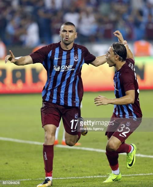 Burak Yilmaz of Trabzonspor celebrates after scoring a goal during a Turkish Spor Toto Super Lig soccer match between Trabzonspor and Atiker...