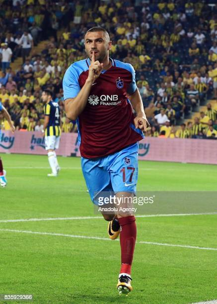 Burak Yilmaz of Trabzonspor celebrates after scoring a goal during Turkish Super Lig soccer match between Fenerbahce and Trabzonspor at the Ulker...