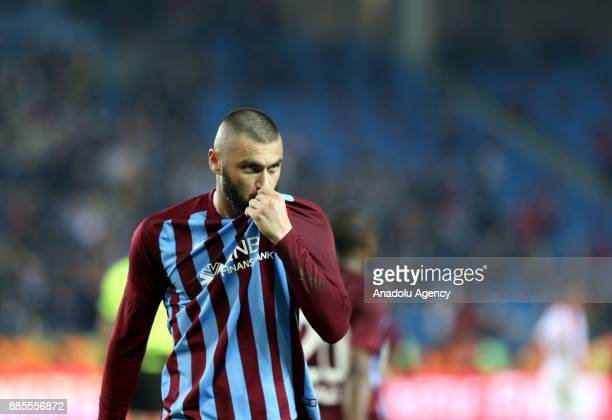Burak Yilmaz of Trabzonspor celebrates after scoring during a Turkish Super Lig match between Trabzonspor and Antalyaspor at Medical Park Stadium in...