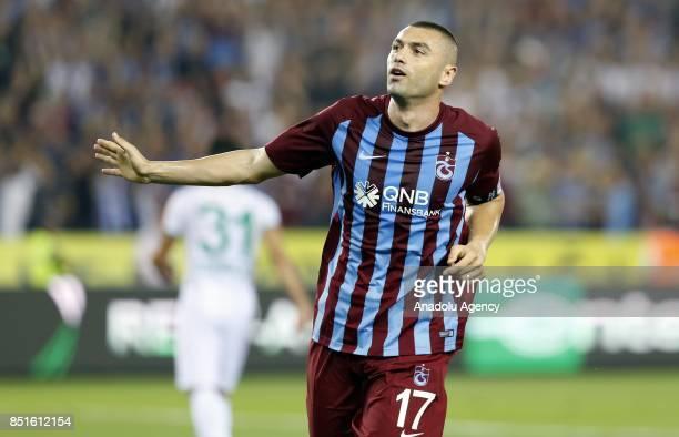 Burak Yilmaz of Trabzonspor celebrates after scoring during the Turkish Super Lig week 6 soccer match between Trabzonspor and Aytemiz Alanyaspor at...
