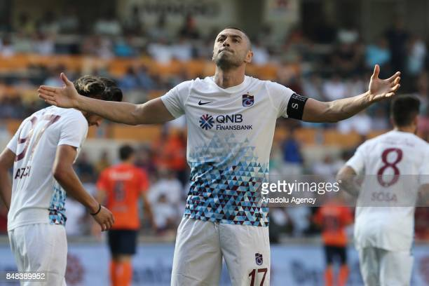 Burak Yilmaz of Trabzonspor celebrates with his teammates after scoring a goal during the 5th week of the Turkish Super Lig match between Medipol...