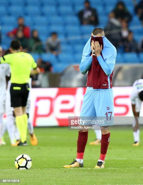 Burak Yilmaz of Trabzonspor gestures after his team lost the match after the Turkish Super Lig match between Trabzonspor and Teleset Mobilya...