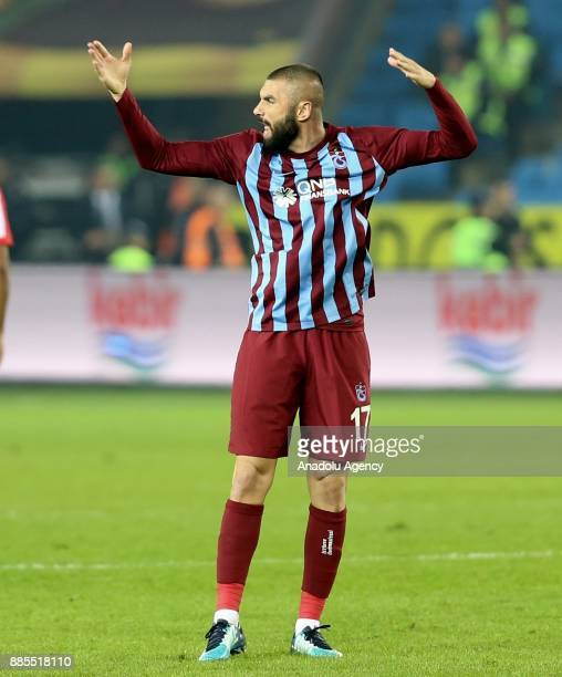 Burak Yilmaz of Trabzonspor gestures during a Turkish Super Lig match between Trabzonspor and Antalyaspor at Medical Park Stadium in Trabzon Turkey...
