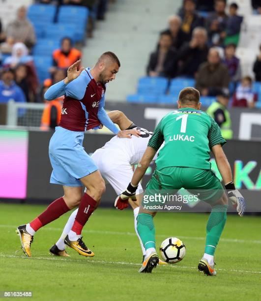 Burak Yilmaz of Trabzonspor in action during the Turkish Super Lig match between Trabzonspor and Teleset Mobilya Akhisarspor at Medical Park Stadium...