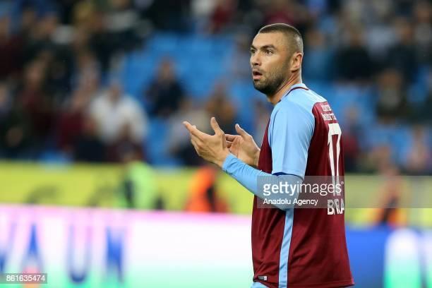 Burak Yilmaz of Trabzonspor reacts to the referee during the Turkish Super Lig match between Trabzonspor and Teleset Mobilya Akhisarspor at Medical...