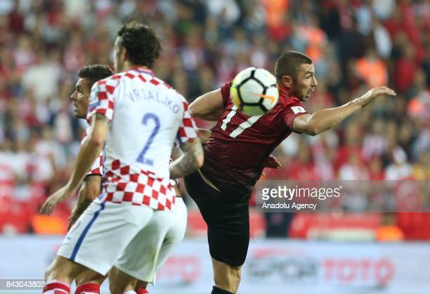 Burak Yilmaz of Turkey in action against Vrsaljko of Belgium during the 2018 FIFA World Cup qualification Group I match between Turkey and Croatia at...