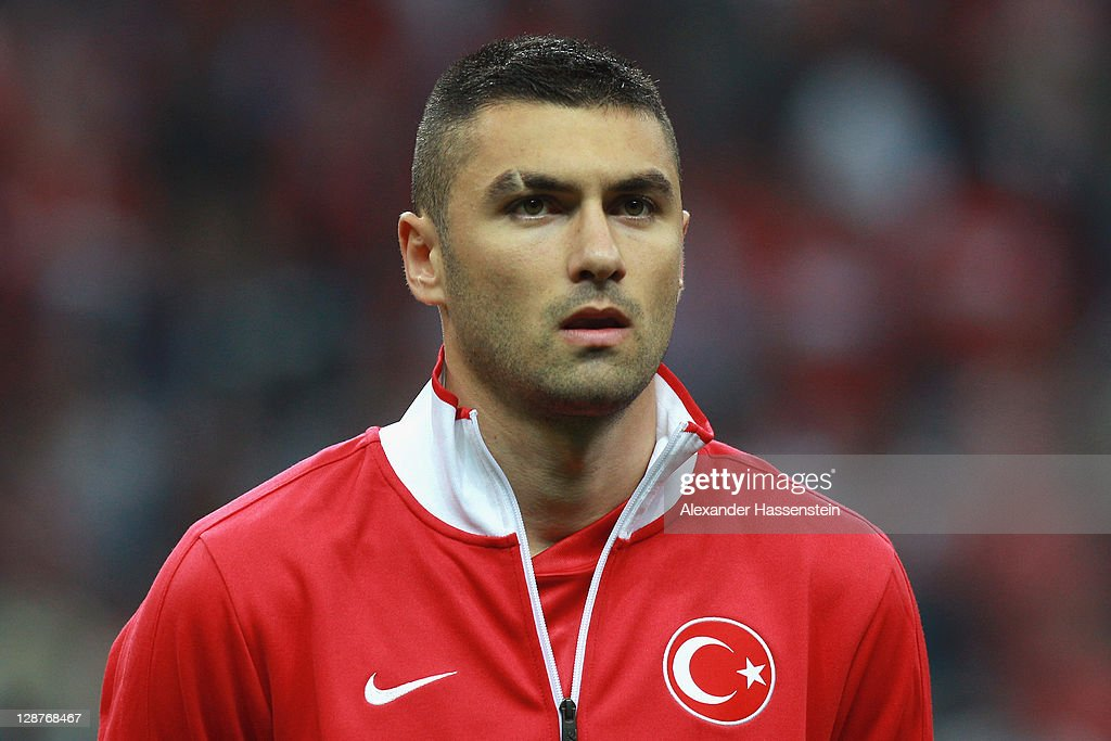 <a gi-track='captionPersonalityLinkClicked' href=/galleries/search?phrase=Burak+Yilmaz&family=editorial&specificpeople=8254293 ng-click='$event.stopPropagation()'>Burak Yilmaz</a> of Turkey pose at the line up prior the UEFA EURO 2012 Group A qualifying match between Turkey and Germany at Tuerk Telekom Arena on October 7, 2011 in Istanbul, Turkey.