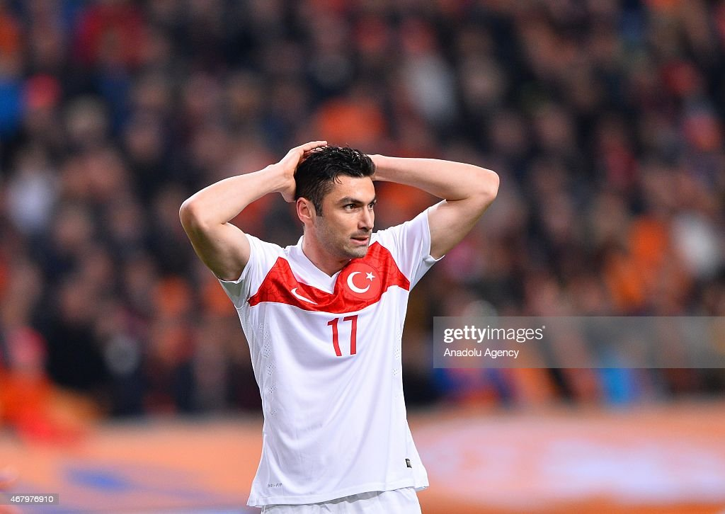 <a gi-track='captionPersonalityLinkClicked' href=/galleries/search?phrase=Burak+Yilmaz&family=editorial&specificpeople=8254293 ng-click='$event.stopPropagation()'>Burak Yilmaz</a> of Turkey reacts during the Euro 2016 qualifying round football match between Netherlands and Turkey at the Arena Stadium, on March 28, 2015 in Amsterdam.